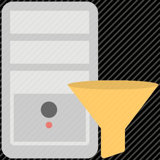 computer processing, creative process, data funnel, data stream, information funnel icon