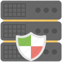 databank shield, database defender, network firewall, server protection, server security icon