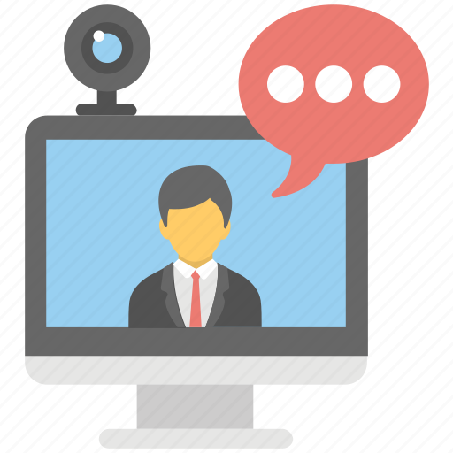 communication, live chatting, video call, video chatting, video conference icon