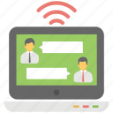 live chat, online chat, online commenting, wifi chatting, wireless communication icon