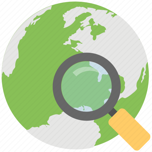 browsing, find location, globe with magnifier, internet surfing, searching icon