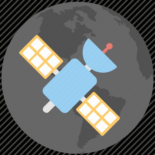 communication satellite, dish antenna, parabolic antenna, radar, space antenna icon