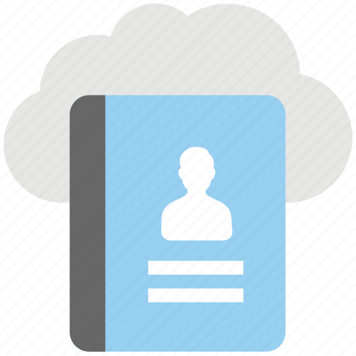 cloud address book, cloud computing, cloud contacts, cloud phone directory, cloud telephone directory icon