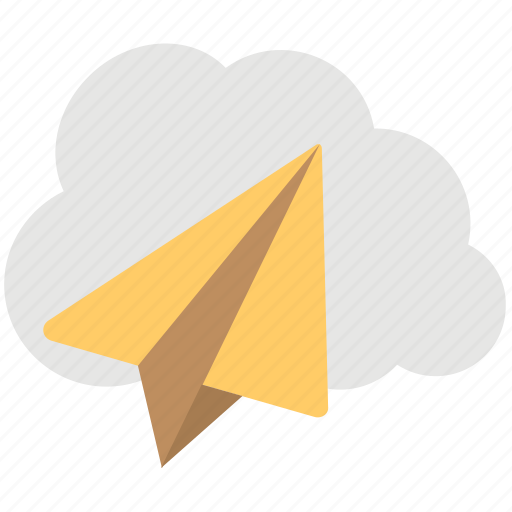 cloud mail, cloud message, cloud paperplane, wireless communication, wireless technology icon