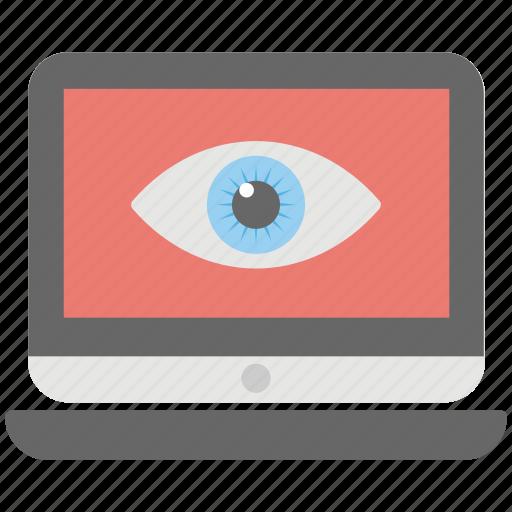 digital security, laptop eye, online presence, remote monitoring, web monitoring icon