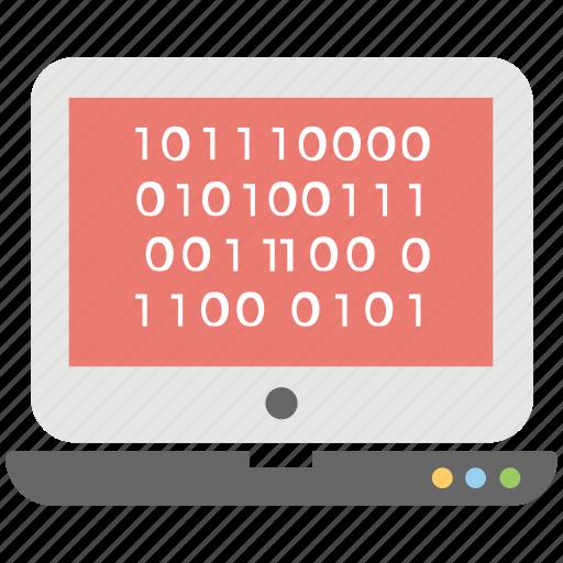 binary code, computer language, laptop with binary code, programming language, web development icon