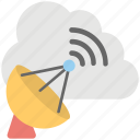 cloud technology, space antenna, space satellite, wireless communication, wireless technology icon