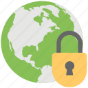 global protection, globe with lock, network protection, network security icon