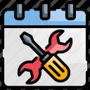 schedule, scheduled, service, support, update icon