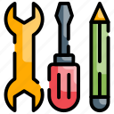 service, service tools, technical support, technical tools icon