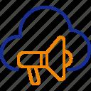 promotion, marketing, cloud, announcement, megaphone