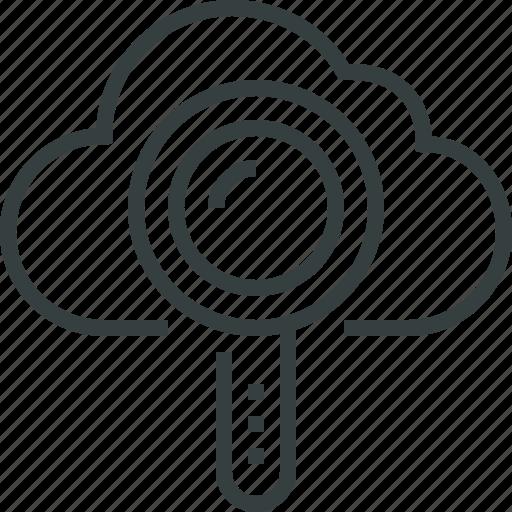 cloud, data, file, find, internet, search, storage, web icon