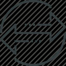 arrows, communication, connect, connection, direct, internet, p2p, technology icon