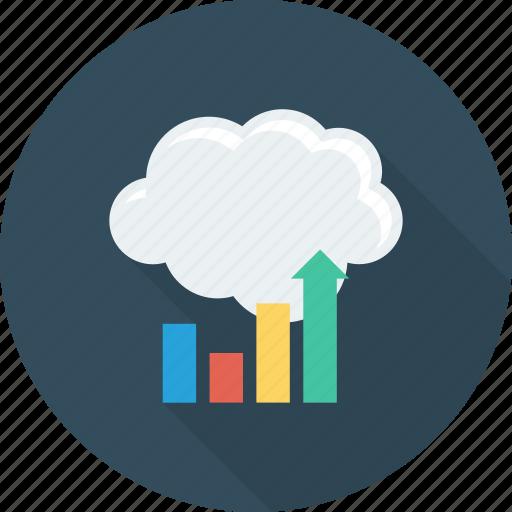 analytics, bar, chart, cloud, computing icon