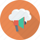announcement, cloud, computing, megaphone, notification icon