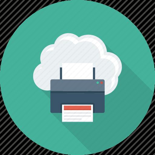cloud, facsimile, online, printer, printing icon