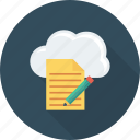 cloud, document, edit, file, pencil, storage icon