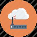 cloud, computing, device, modem, router, wifi