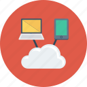 cloud, data, laptop, mobile, online, sharing, storage icon