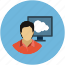 account, client, female, human, online computing, profile, user, woman icon