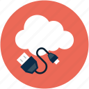 power cable, online computing data, cable, power icon