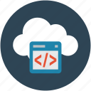 coding, online analytics, online calendar, programming icon