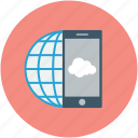mobile, online cloud, smart-phone, online globe icon