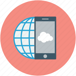 mobile, online cloud, online globe, smart-phone icon