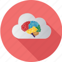 brain, cloud, computer, computing, information, intelligence, meeting icon