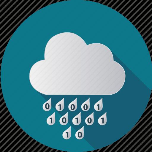 cloud, computer, computing, data, degital, numbers, rain icon