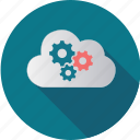 cloud, computer, computing, gears, information, meeting, security icon