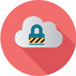 cloud, computer, computing, information, meeting, padlock, security icon