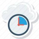 clock, cloud, database, deadline, server, time, timer icon