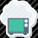 broadcast, cloud, data, retro, storage icon