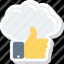 cloud, computing, like, thumb, up icon