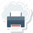cloud, facsimile, online, printer, printing icon