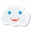 cloud, emoji, face, hosting, saas, smiley icon