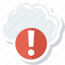 cloud, error, storage, warning icon