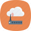 cloud, computing, device, modem, wifi icon