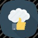 cloud, computing, like, thumb, up