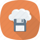cloud, computing, data, file, floppy, online