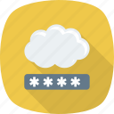 cloud, network, password, privacy icon