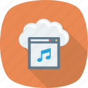 cloud, internet, music, note, player, weather, web icon