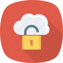 cloud, hosting, storage, unlock icon