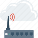cloud, computing, device, modem, router, wifi icon