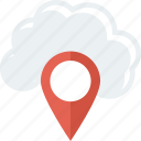 cloud, gps, location, map, navigation, pin