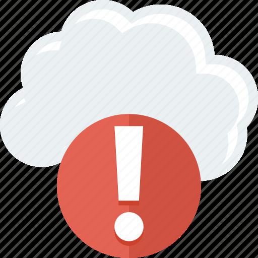 cloud, error, storage, warning icon