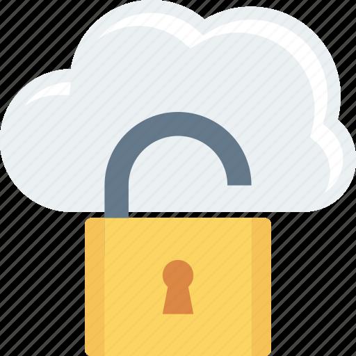 cloud, hosting, storage, unlock icon