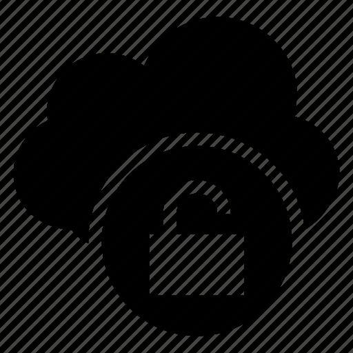 cloud, computing, key, lock, security, unlock, weather icon