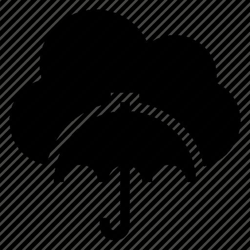 cloud, computing, insurance, protection, rain, umbrella, weather icon